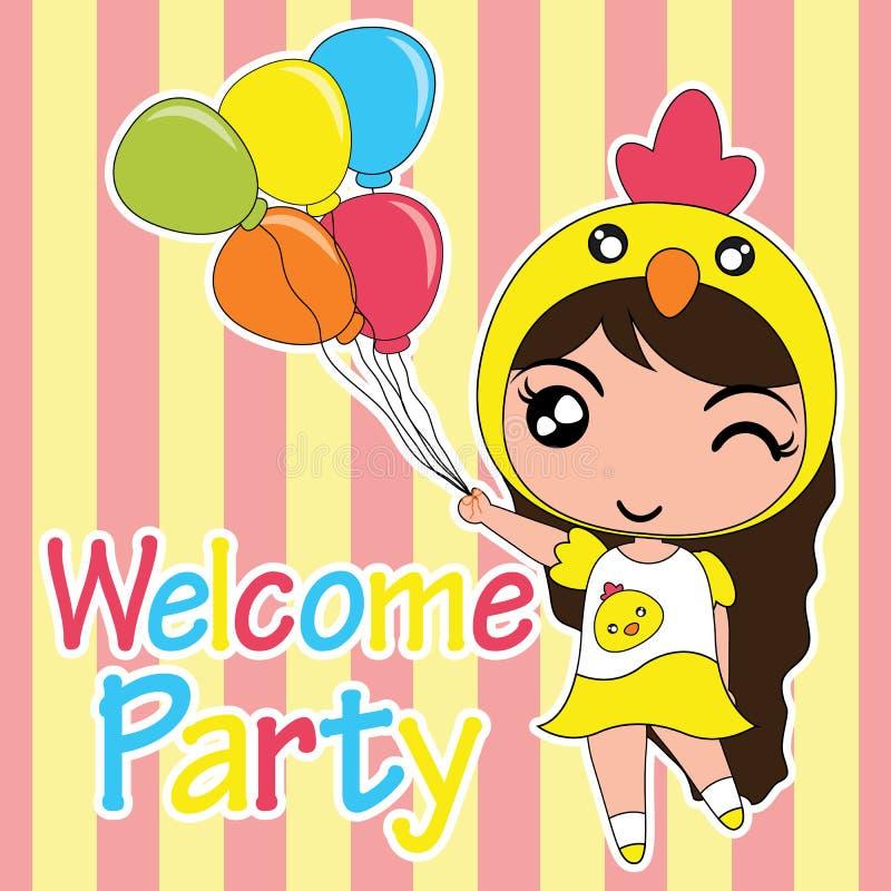 Иллюстрация шаржа поздравительой открытки ко дню рождения с милой девушкой цыпленока приносит воздушные шары соответствующие для  иллюстрация вектора