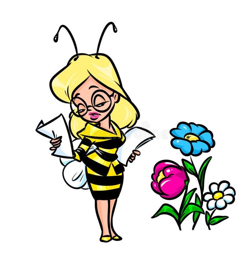 Иллюстрация шаржа пчелы женщины