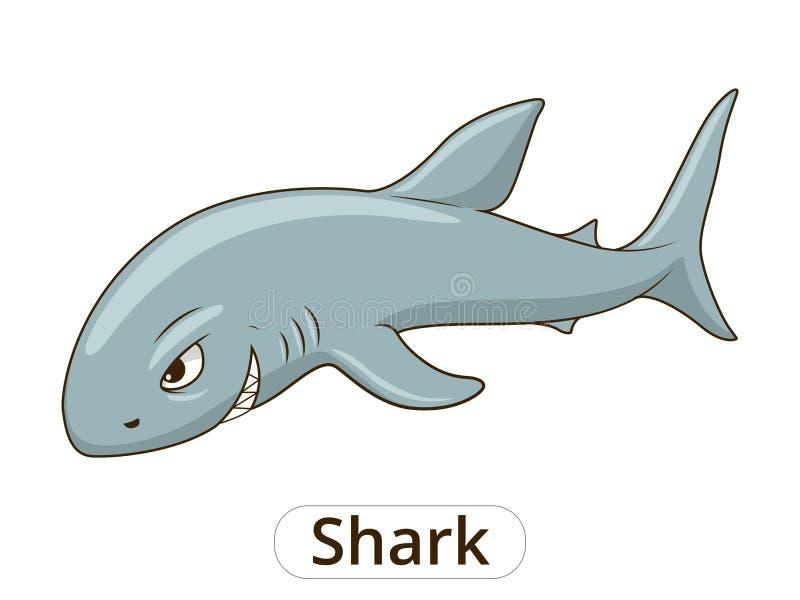 Иллюстрация шаржа рыб морского животного акулы иллюстрация штока