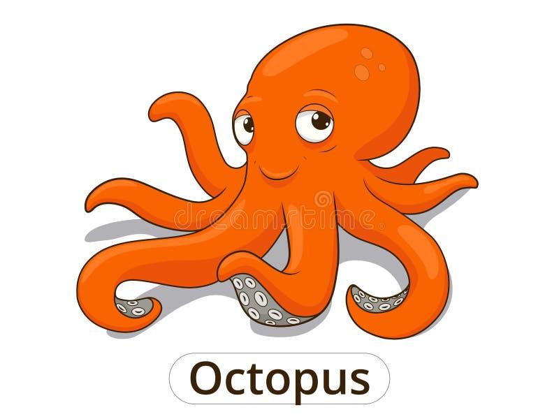 Иллюстрация шаржа рыб морского животного осьминога иллюстрация штока