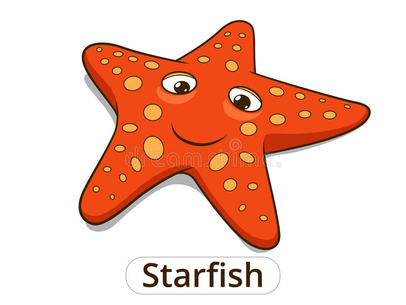 Иллюстрация шаржа рыб моря морских звёзд иллюстрация штока