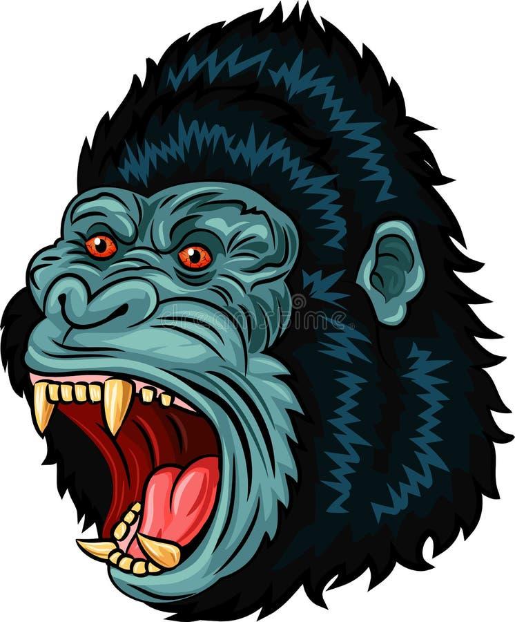 Иллюстрация шаржа сердитого характера головы гориллы на белой предпосылке бесплатная иллюстрация