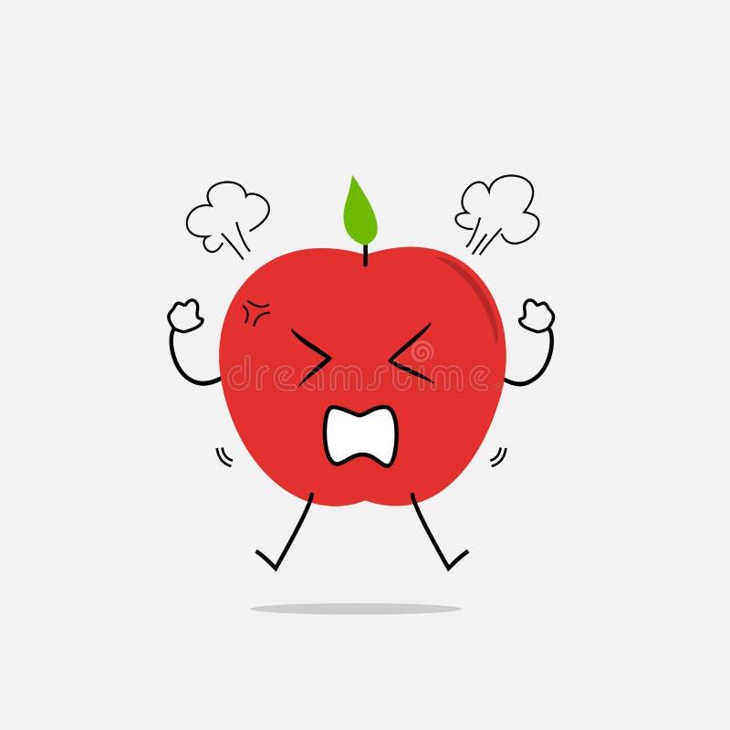 Иллюстрация шаржа сердитого яблока простая чистая стоковое фото