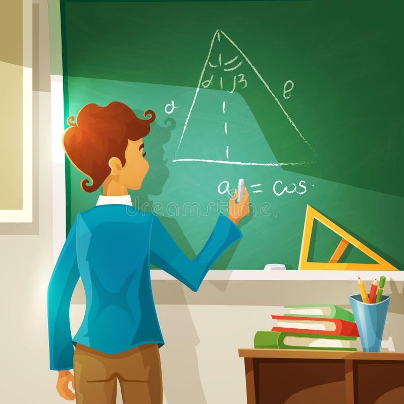 Иллюстрация шаржа урока геометрии бесплатная иллюстрация