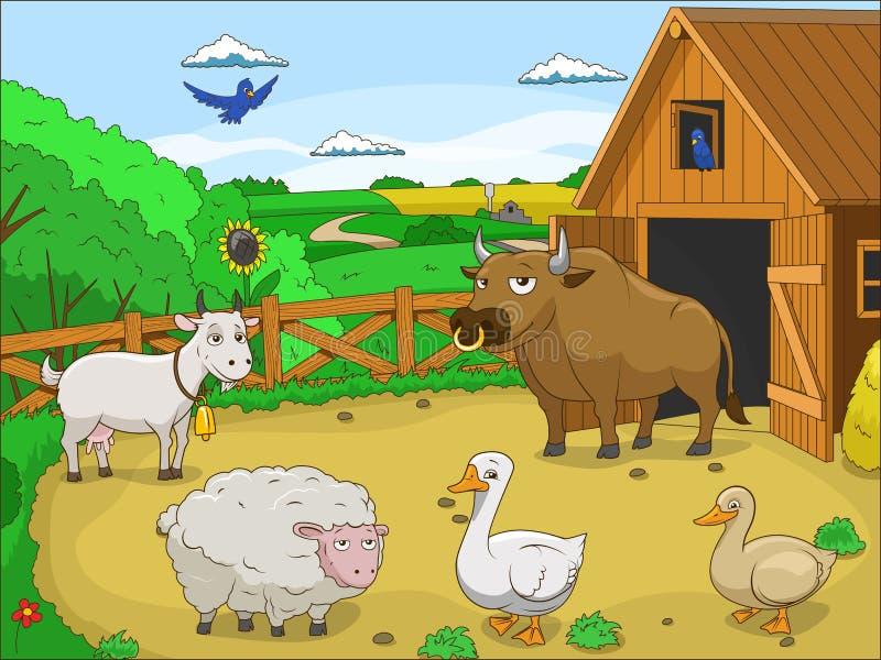 Иллюстрация шаржа фермы воспитательная иллюстрация вектора