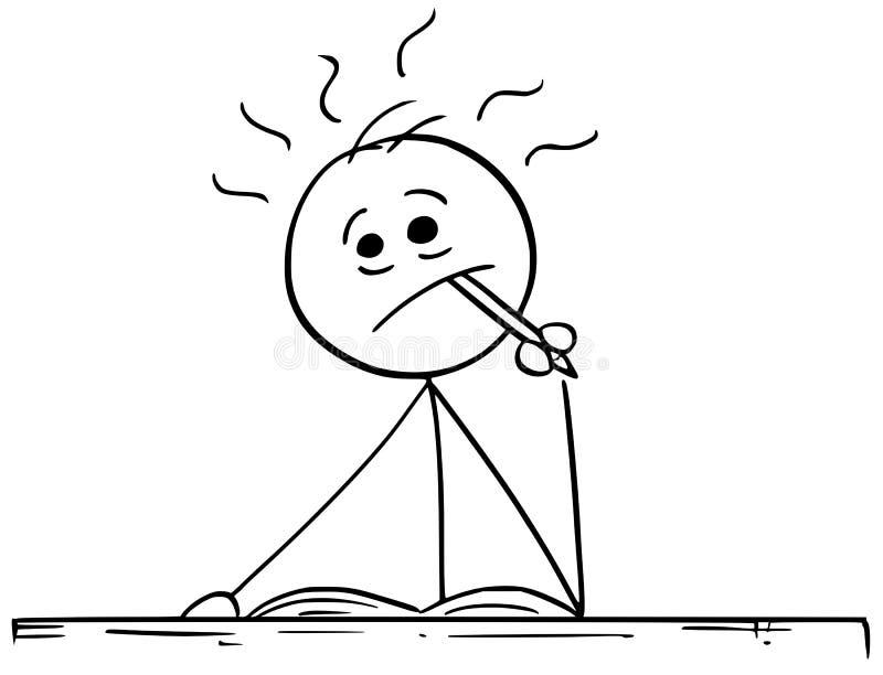Иллюстрация шаржа человека думая крепко с карандашем в его Mou бесплатная иллюстрация
