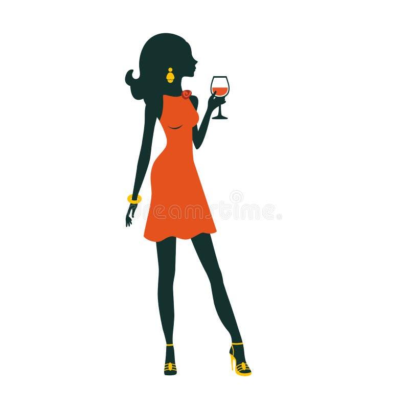 Иллюстрация шикарной девушки партии представляя с иллюстрация вектора