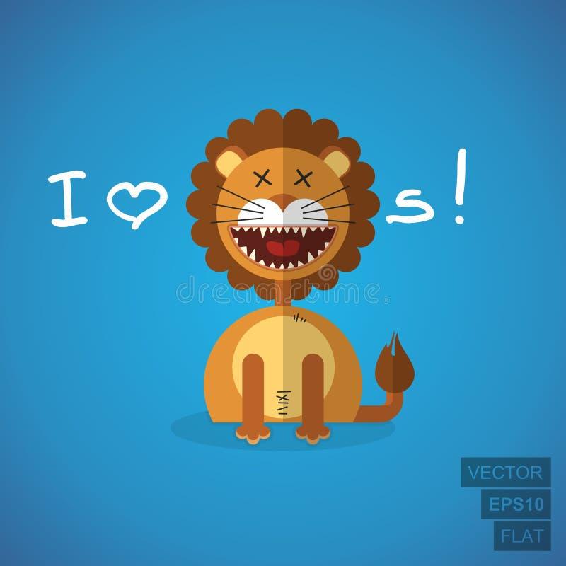 Иллюстрация льва плоская бесплатная иллюстрация
