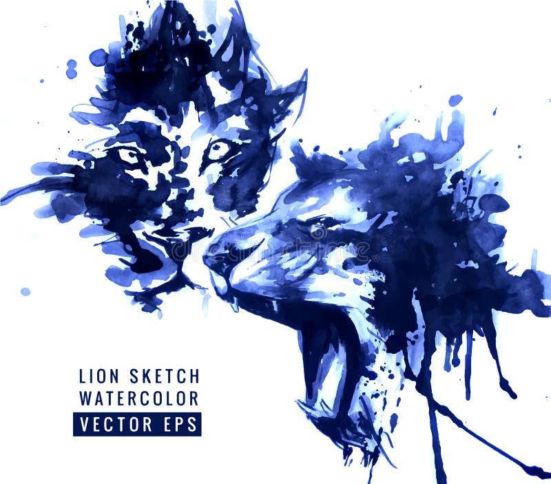 Иллюстрация львов иллюстрация вектора