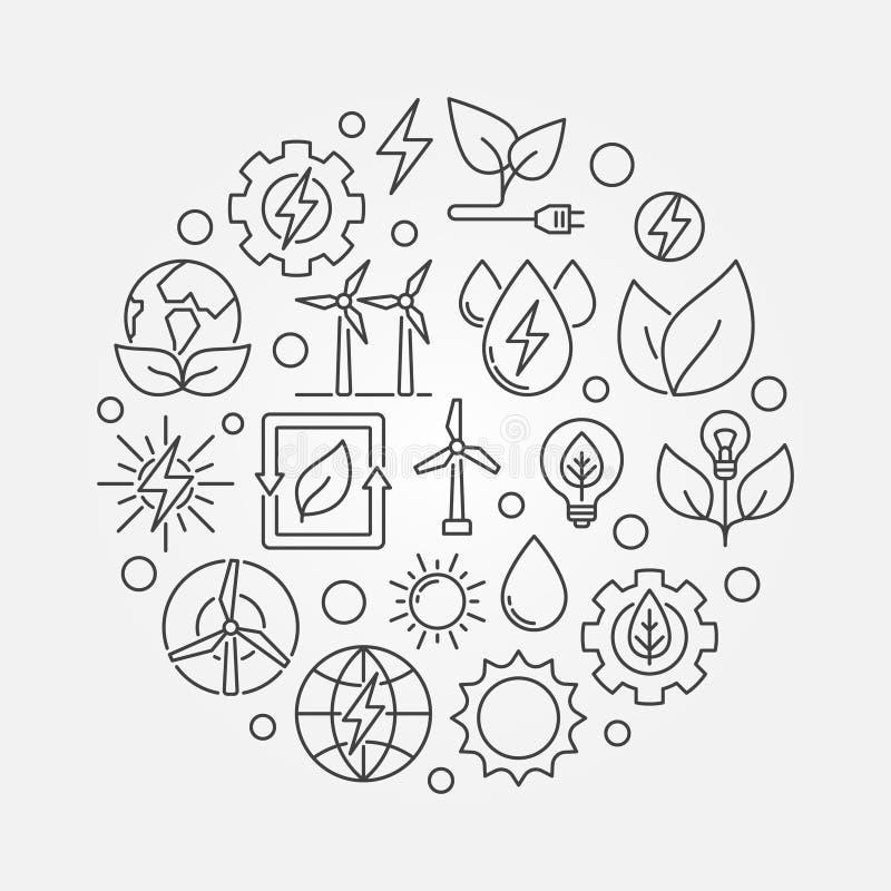 Иллюстрация энергии Eco круглая иллюстрация вектора