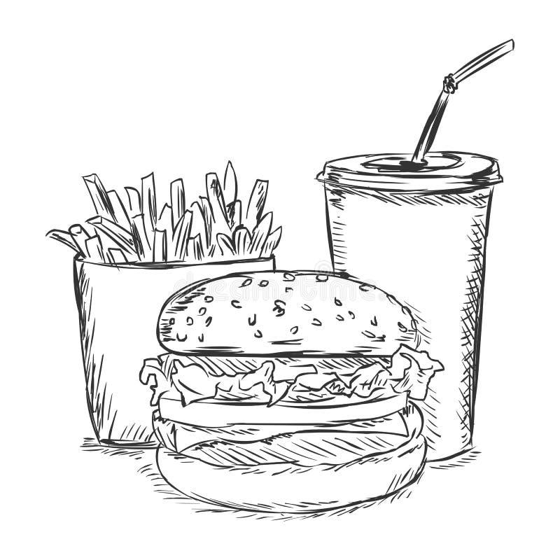 Раскраска бургер и картошка фри