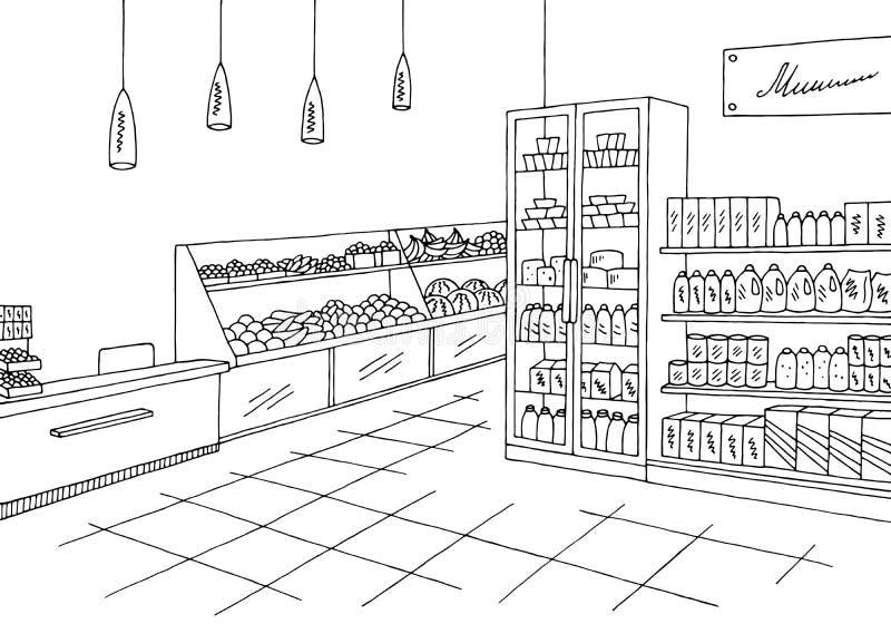 Магазин черно белый рисунок