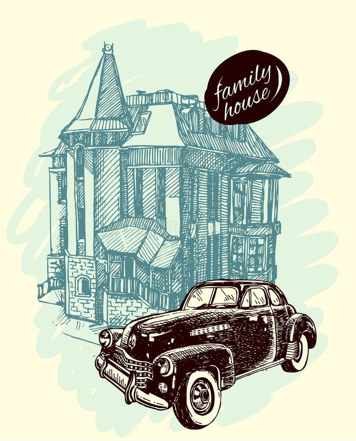 Иллюстрация эскиза дома иллюстрация вектора