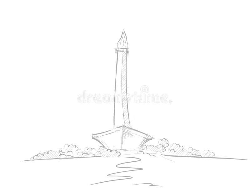 Иллюстрация эскиза Monas с карандашем и черно-белым стилем иллюстрация штока