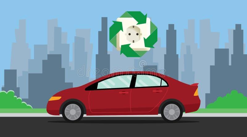Иллюстрация электрического автомобиля с затыкает внутри символ бесплатная иллюстрация