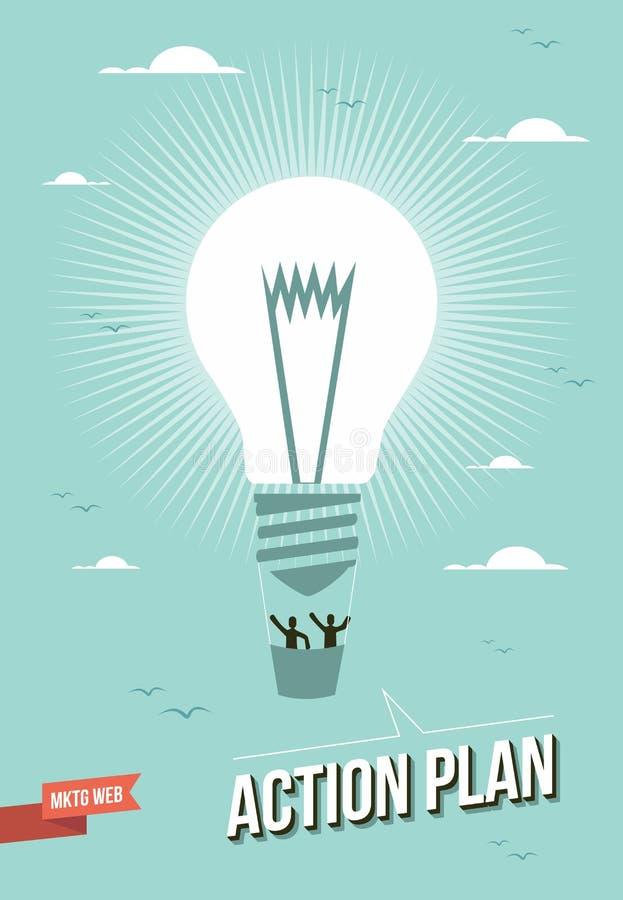 Иллюстрация электрической лампочки плана действия маркетинга сеты бесплатная иллюстрация