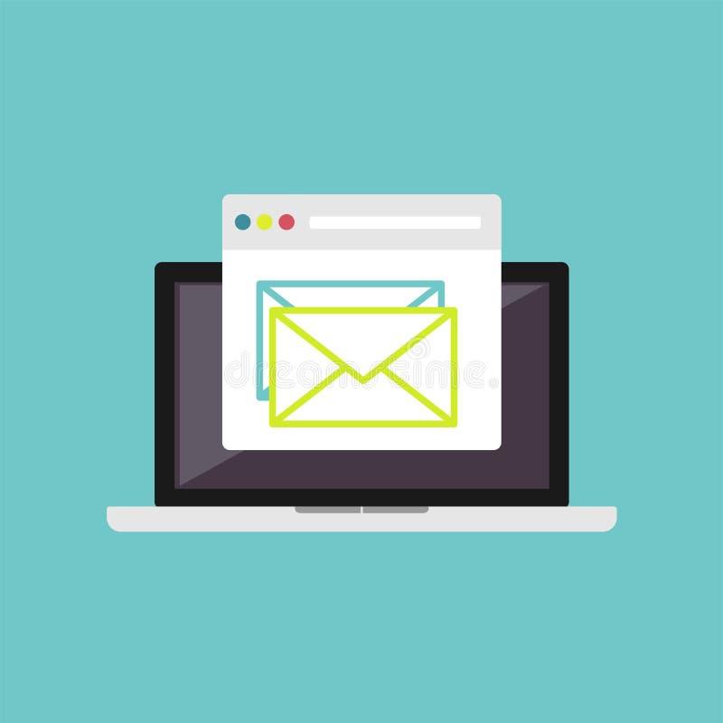 Иллюстрация электронной почты Маркетинг электронной почты Электронная почта чтения на компьтер-книжке бесплатная иллюстрация