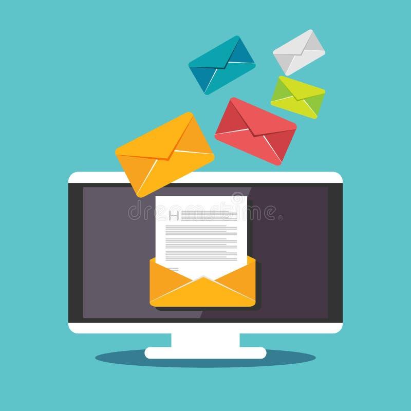 Иллюстрация электронной почты Посылающ или получающ иллюстрацию концепции электронной почты Маркетинг электронной почты иллюстрация вектора