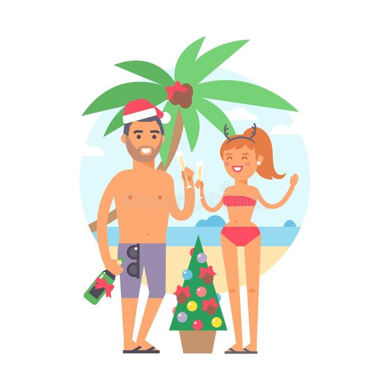 Иллюстрация людей семьи лета иллюстрация вектора