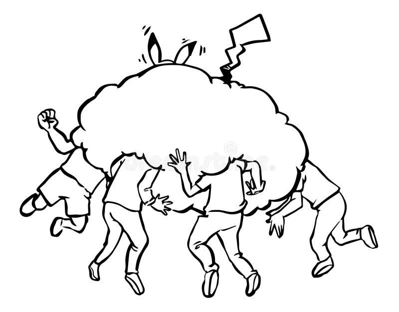 Иллюстрация люди находит pokemon для того чтобы пойти стоковые фотографии rf