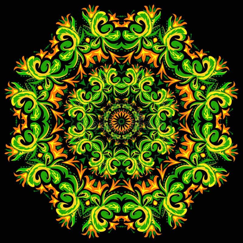 Иллюстрация яркой карточки орнамента с мандалой бесплатная иллюстрация
