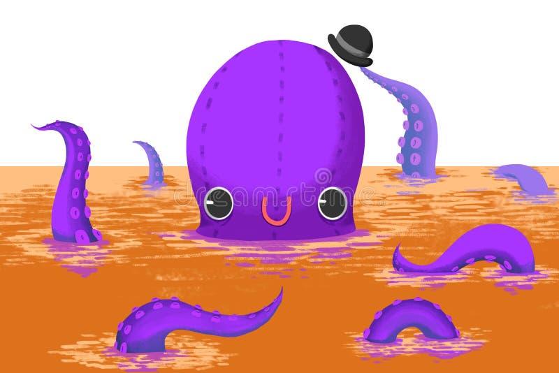 Иллюстрация для детей: Большой джентльмен осьминога говорит здравствуйте! к вам! иллюстрация вектора