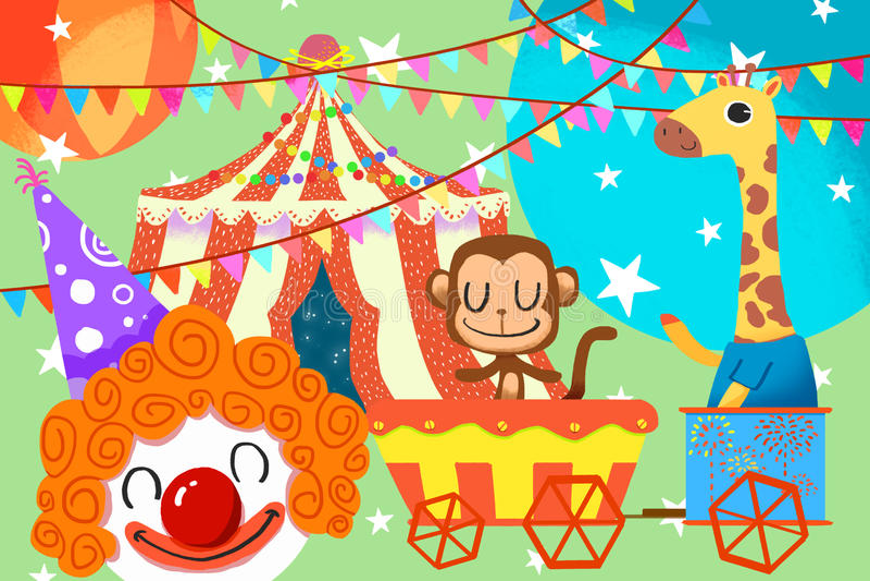 Иллюстрация для детей: Дамы и джентльмен, гостеприимсво к цирку! иллюстрация вектора