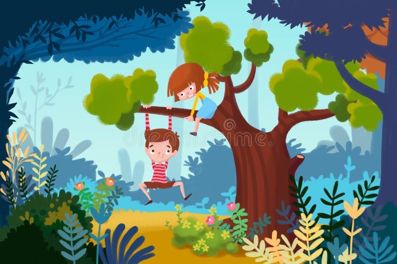 Иллюстрация для детей: Мальчик и маленькая девочка играют вверх в дереве бесплатная иллюстрация