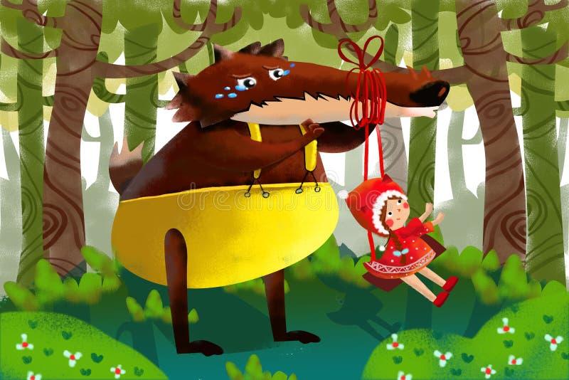 Иллюстрация для детей: Невиновный большой волк падает для шутки маленькой умной девушки с красным плащем иллюстрация штока