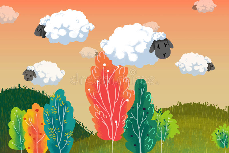 Иллюстрация для детей: Поплавок облака овец над красочными деревьями иллюстрация штока