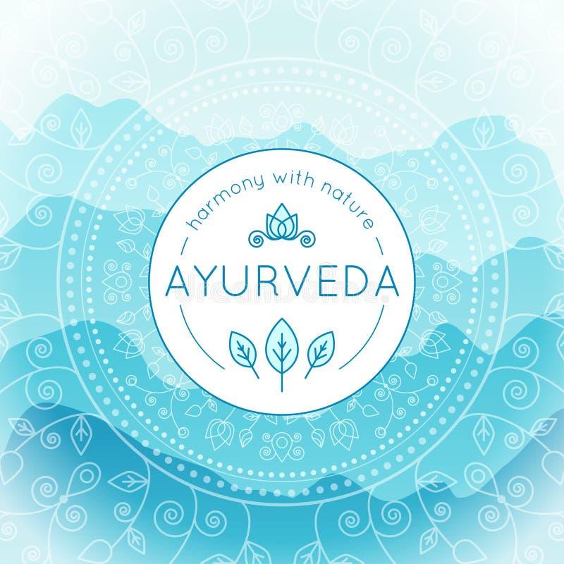 Иллюстрация Ayurveda с ландшафтом гор иллюстрация вектора