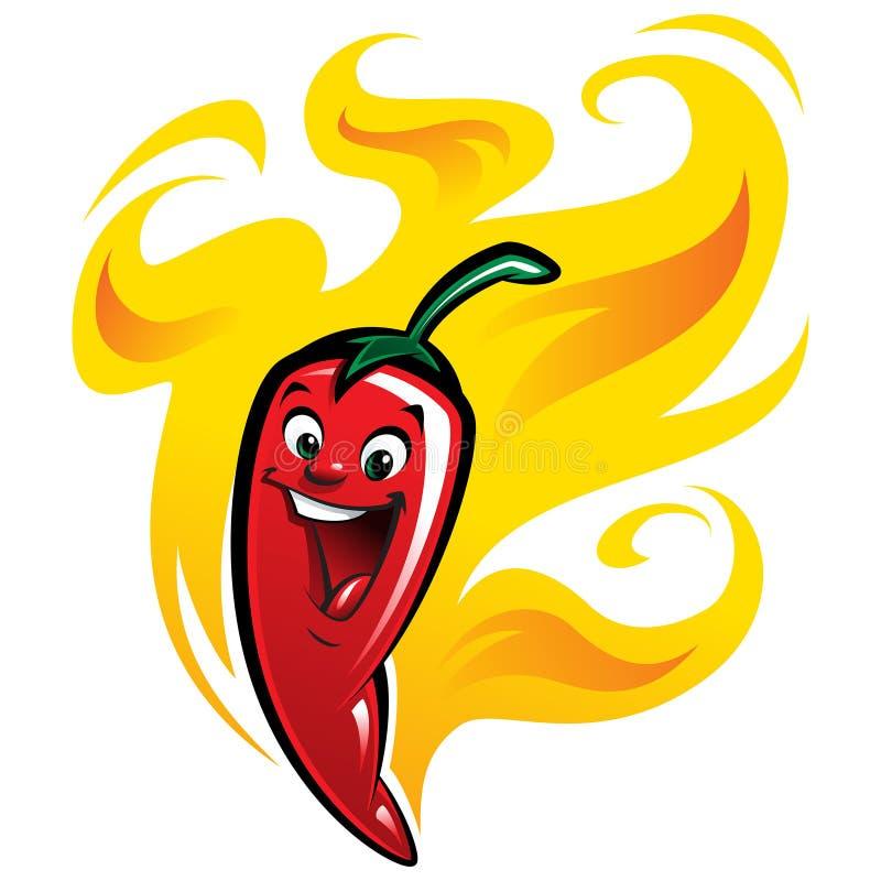 Иллюстрация ch вектора горячего перца шаржа счастливая пряная красная зябкая иллюстрация вектора