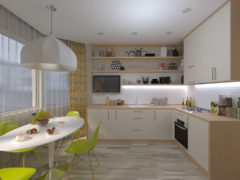 иллюстрация 3D белой кухни иллюстрация вектора