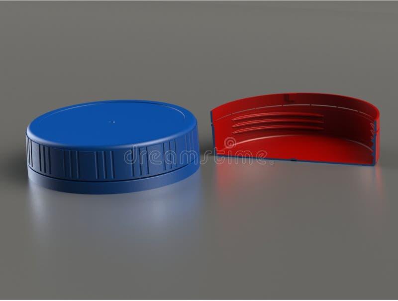 иллюстрация 3d голубой пластичной крышки бутылки иллюстрация вектора