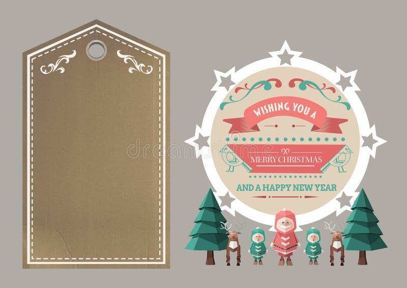 иллюстрация 3D дерева, северного оленя, человеческих диаграмм и с Рождеством Христовым желаний бесплатная иллюстрация