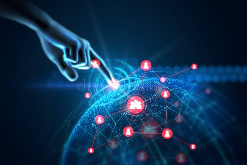 иллюстрация 3d жеста касания руки на футуристической технологии стоковые изображения