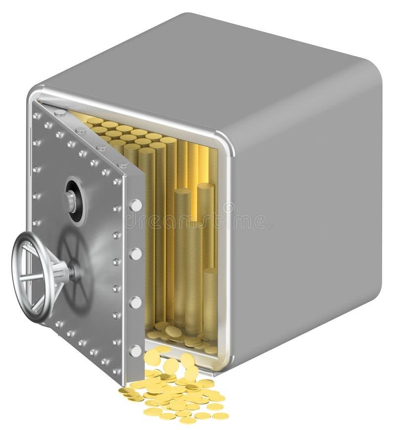 иллюстрация 3d закрытого сейфа металла изолированного на белой предпосылке белизна обеспеченностью предпосылки изолированная прин иллюстрация штока