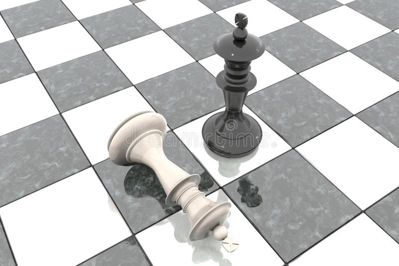 иллюстрация 3d: 2 диаграммы шахмат на игровой площадке Черный король победитель и невинные ложи проигравшего унижают на его ногах бесплатная иллюстрация