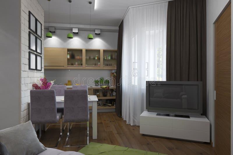 иллюстрация 3D квартиры одн-комнаты иллюстрация штока