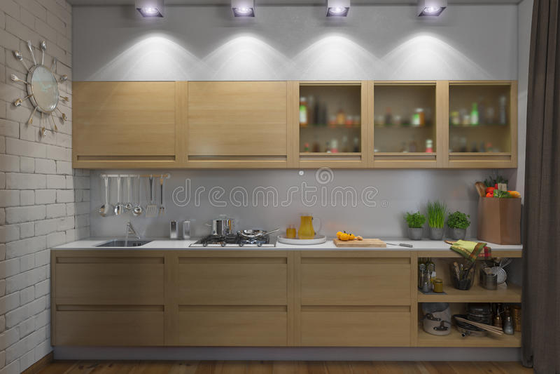 иллюстрация 3D квартиры одн-комнаты иллюстрация вектора