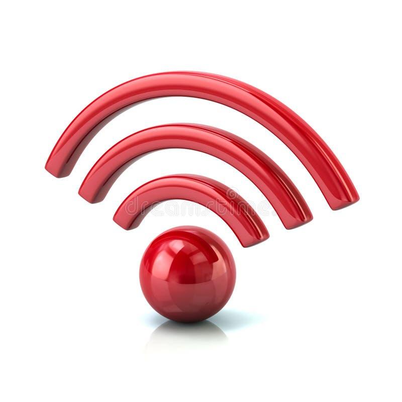 иллюстрация 3d красного значка wifi иллюстрация вектора