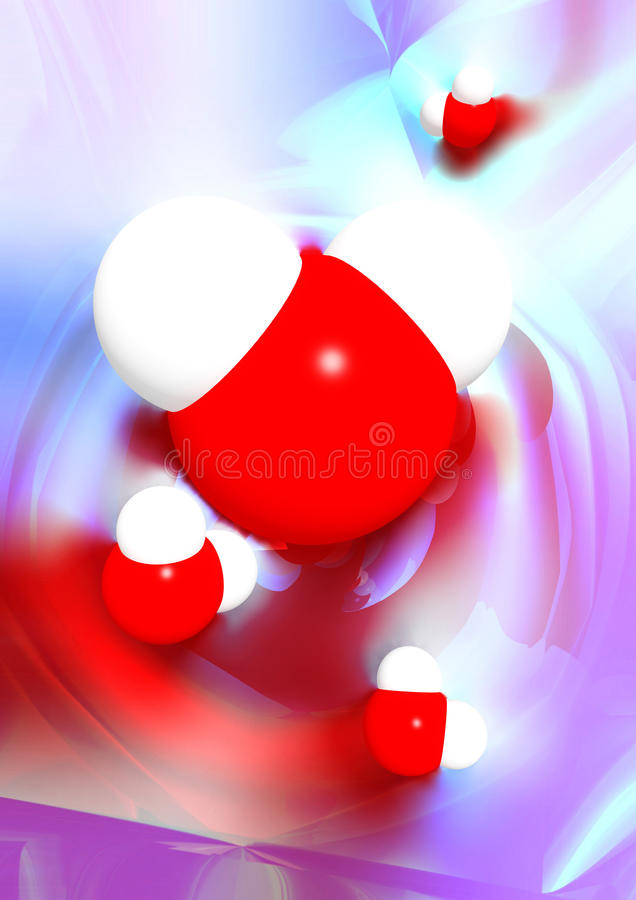 Иллюстрация 3D молекул воды схематическая стоковое фото rf