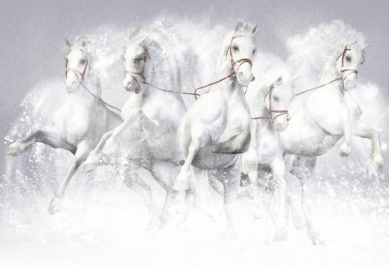 иллюстрация 3D лошадей иллюстрация вектора
