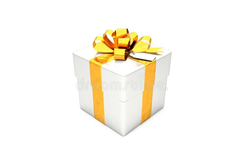 иллюстрация 3d: Подарочная коробка металла серебряная с золотыми лентой/смычком и биркой металла на белой изолированной предпосыл иллюстрация вектора