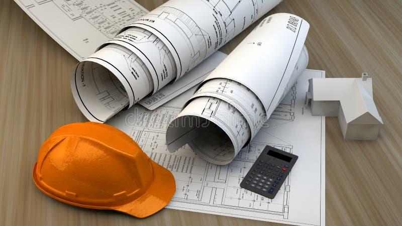 иллюстрация 3d светокопий, модели дома и строительного оборудования иллюстрация вектора