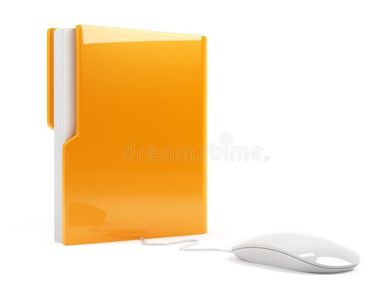 Скоросшиватель компьютера с мышью иллюстрация вектора