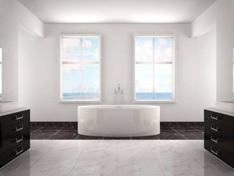 иллюстрация 3d современной белой роскошной ванной комнаты иллюстрация вектора