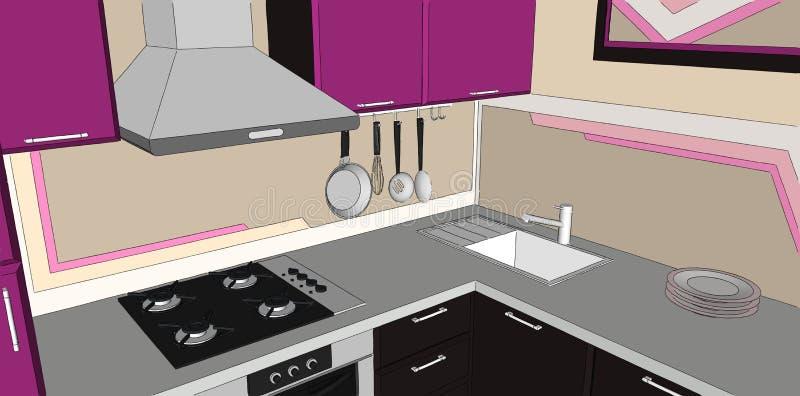 иллюстрация 3D фиолетового и коричневого угла кухни с клобуком перегара, hob газа, раковиной и баком стены кладет на полку иллюстрация вектора