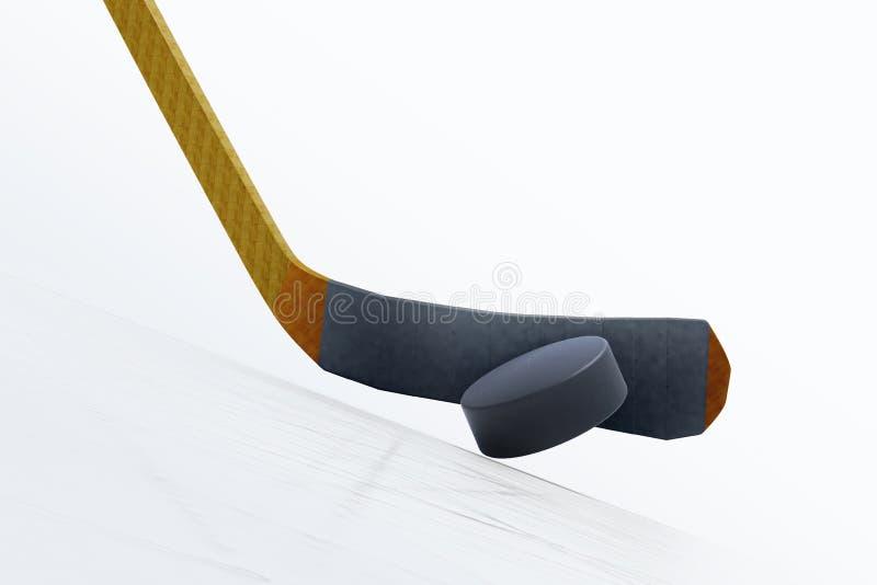иллюстрация 3d хоккейной клюшки и плавая шайбы на льде бесплатная иллюстрация