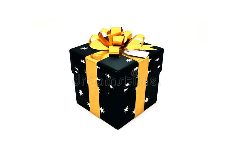 иллюстрация 3d: Черная подарочная коробка с звездой, золотой лентой металла/смычком и биркой на белой изолированной предпосылке иллюстрация штока